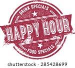 happy hour bar menu stamp | Shutterstock .eps vector #285428699