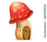 Fairy House mushroom on a white background. Eps10.