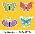 butterfly design yellow... | Shutterstock .eps vector #285437726