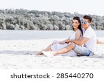 romantic young couple in love... | Shutterstock . vector #285440270