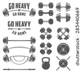 set of vintage gym equipment ... | Shutterstock .eps vector #285440669