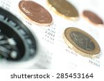 compass with coins on financial ... | Shutterstock . vector #285453164