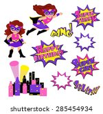 colorful cartoon text captions. ... | Shutterstock .eps vector #285454934