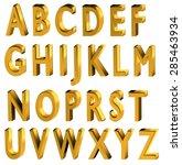 gold 3d font. english alphabet... | Shutterstock . vector #285463934