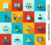 career flat icons set with... | Shutterstock .eps vector #285465233