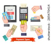 payment icon set. human hands... | Shutterstock .eps vector #285470414