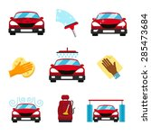 vector set of car washing flat... | Shutterstock .eps vector #285473684