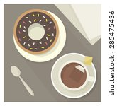 tea and a donut. vector... | Shutterstock .eps vector #285475436