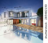 project for a villa with notes... | Shutterstock . vector #285482150