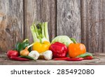 colorful organic vegetables on... | Shutterstock . vector #285492080