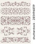 set vintage ornate borders. | Shutterstock .eps vector #285496859