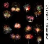 set of colorful fireworks light  | Shutterstock . vector #285515474