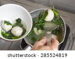making fish ball soup with... | Shutterstock . vector #285524819
