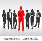 red businessman silhouette ... | Shutterstock .eps vector #285525086