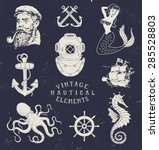 vintage hand drawn nautical set | Shutterstock .eps vector #285528803