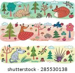 autumn kids pattern with animals | Shutterstock .eps vector #285530138