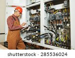 adult electrician builder... | Shutterstock . vector #285536024