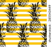 hand drawn striped pineapple... | Shutterstock .eps vector #285543449