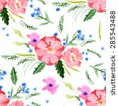 watercolor floral seamless... | Shutterstock .eps vector #285543488