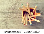 cup with colorful pencils on... | Shutterstock . vector #285548360