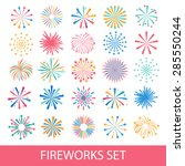 colorful fireworks set isolated ...