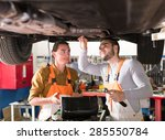 mechanics doing maintenance... | Shutterstock . vector #285550784