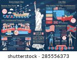 set of usa history infographics.... | Shutterstock .eps vector #285556373