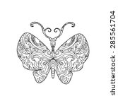 butterfly zentangle | Shutterstock .eps vector #285561704