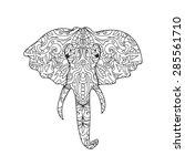 elephant head zentangle | Shutterstock .eps vector #285561710