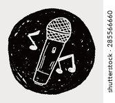 doodle microphone | Shutterstock .eps vector #285566660