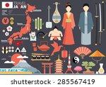 japan flat icons design travel... | Shutterstock .eps vector #285567419