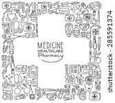 health care doodle icons... | Shutterstock .eps vector #285591374