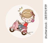 joy ride motorcycle girl   lady ... | Shutterstock .eps vector #285591959