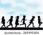 children silhouettes. | Shutterstock .eps vector #285595304