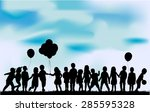 children silhouette in nature . | Shutterstock .eps vector #285595328