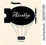vintage fairy airship. vector... | Shutterstock .eps vector #285597284