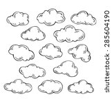 set of vector clouds on white... | Shutterstock .eps vector #285604190