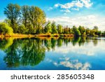 tranquil landscape at a lake ... | Shutterstock . vector #285605348