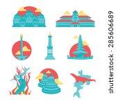 indonesian famous landmarks | Shutterstock .eps vector #285606689