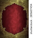 red background with gold frame. ... | Shutterstock . vector #285607454