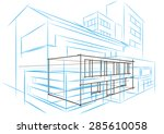 linear architectural sketch...   Shutterstock .eps vector #285610058