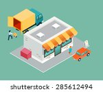 shop and delivery isometric 3d... | Shutterstock . vector #285612494