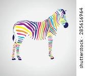 zebra icon. multicolored...   Shutterstock .eps vector #285616964
