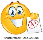 happy emoticon showing a paper... | Shutterstock .eps vector #285628208