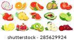 fruits and vegetables isolated... | Shutterstock . vector #285629924