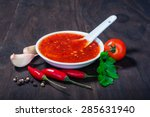 red hot sweet chilli sauce over ... | Shutterstock . vector #285631940