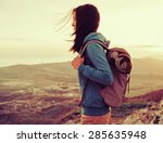 hiker young woman with backpack ...   Shutterstock . vector #285635948
