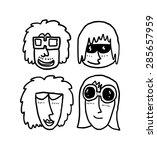 Set Of Cartoon Head Wearing...