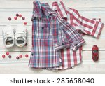 top view fashion trendy look of ... | Shutterstock . vector #285658040