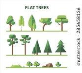 set of trees  rocks  grass in... | Shutterstock . vector #285658136